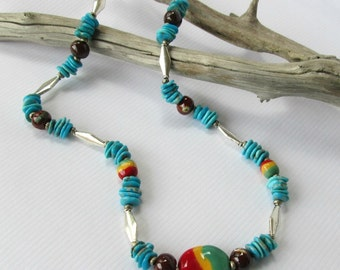 Natural Turquoise Necklace, Kingman Turquoisewith African Kazuri Bead Accents