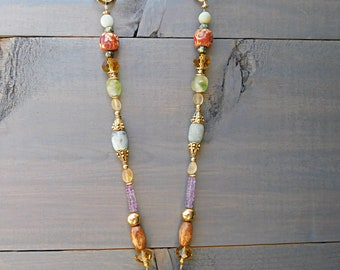 Imperial Treasures Necklace - Amethyst, Amazonite, Frosted Citrine
