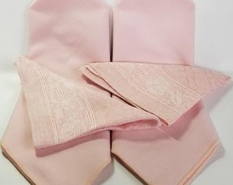 Set of 2 vintage cotton linen place mats and napkins, or set of 4 napkins, pink