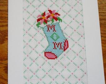 Christmas card handmade cross  Stitch Greeting Card - Mom