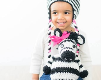 Set hat and plush Zebra crochet