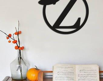 Halloween, Fall Decor,  Monogram Initials, Witch Hat Monogram, Painted Halloween Monogram, Halloween Sign, Witch Hat Decor, Door Hanger