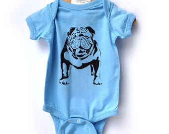 Baby shower gift. English bulldog onesie. Bulldog bodysuit lap-shoulder, creeper, Dog baby clothes.