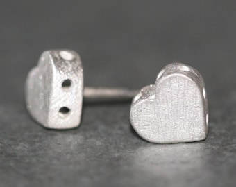 Heart Stud Earrings with Holes in Sterling Silver