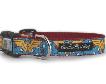 Wonder Woman Dog Collar, Superhero Dog Collar, for Girl, Can be Personalized, 1 Inch Width, for Big Dog, Designer Dog Collar- Wonder Woman