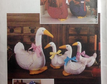 Sewing Pattern Stuffed Large and Small Goose Geese Decorative Toys Patchwork Calico Decor 1984 Uncut