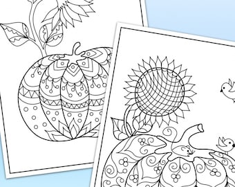 Pumpkins and Sunflowers printable coloring pages