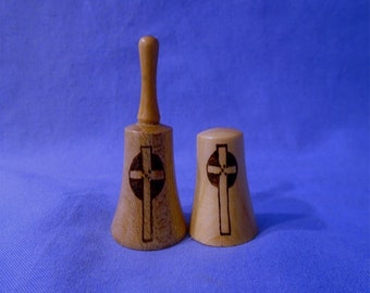 Handmade Wooden *Miniature Bell & Thimble* with a Celtic Cross.  Lovely for collectors of Bells and Thimbles