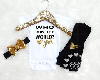 """Baby Girls' Clothing, Baby Girl Bodysuit Set, """"Who Run The World, Girls"""", Funny Sayings Baby Outfit, Bodysuit, One Piece, Baby Shower Gift"""