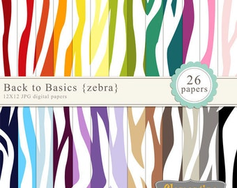 Zebra digital paper 12x12, digital scrapbooking paper, royalty free commercial use- Instant Download