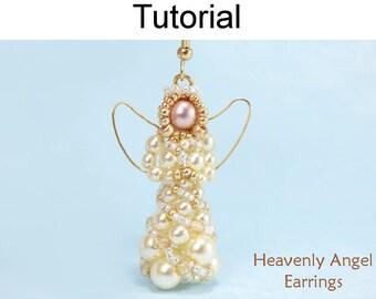 Beaded Angel Earrings Tutorial - Holiday Christmas Jewelry Making Pattern - Simple Bead Patterns - Heavenly Angel Earrings #28203