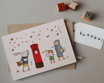Windy day greetings card