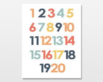 Numbers Poster, Counting to Twenty Art Print, Simple Modern Colorful Numbers Artwork, Children's and Baby Nursery Decor