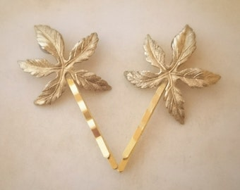 Leaf Hair Pins Gold Leaf Bobby Pins Leaf Flower Hair Clip Woodland Wedding