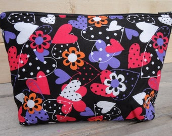 Cosmetic Bag, Zipper Pouch - Hearts on Black
