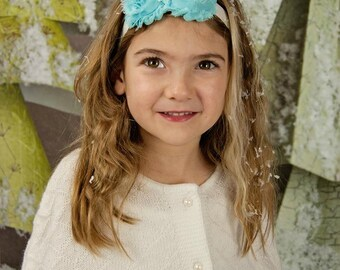 Light Blue White Glitter Snowflake Headband Iridescent -  Winter Princess - Newborn Infant Baby Toddler Girls Adult Aqua