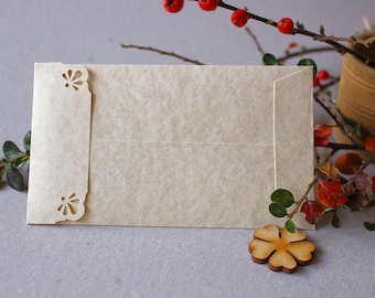 100 Aged Envelopes - Wedding Stationery - #5 Coin Envelopes - Parchment Envelopes with Lace Cutout Flap - Seed Packet Envelopes