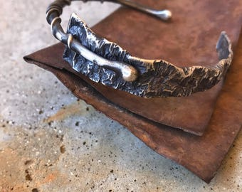 Hold for Carrie - rustic dual textured silver cuff bracelet  by  Studio Luna Verde