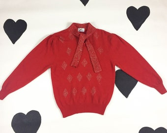 80's red angora glitter knit sweater 1980's fluffy diamond glittery knit scarf tie sweater / slouchy / lurex / metallic / ribbed / loose S M