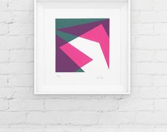 Limited Edition Geometric Screenprint, Handmade Print, Contemporary 2 Colour Screenprint