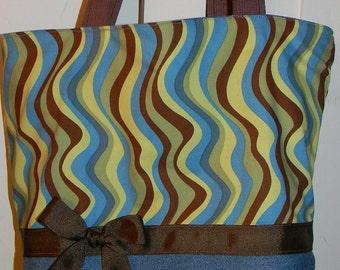 Groovy Jean Floral or Wavy  BAG Purse Tote BAG or Diaperbag