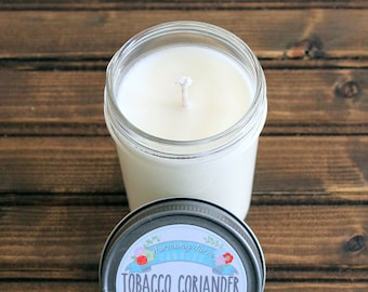 Tobacco Coriander Soy Wax Candle in 8 oz. Jelly Jar - Gift for Dad, Father's Day, Man, Boyfriend, Husband, Masculine, Tobacco