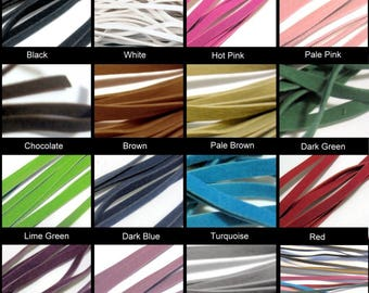 10 Mtrs 3mm Faux Suede Flat Cords - Various Colour-Mixed