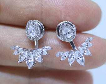 Gold Earring Jackets - Ear cuffs and ear jackts Gold Earrings Crystal Earrings Stud Earrings Bridal Earrings Boho Earrings Trending Earrings