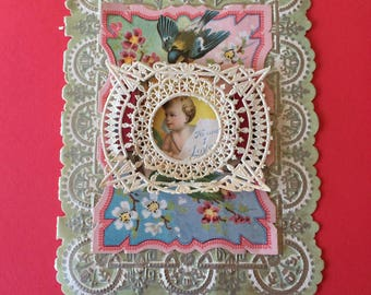 Antique Valentine Early 1900's Card with Doily