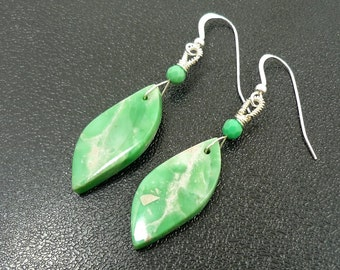 Green Turquoise Earrings, Gemstone Earrings, Drop Earrings, Beaded Earrings, Beadwork Earrings, Wire Wrapped Earrings, Dangle Earrings