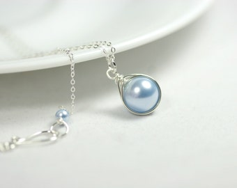 Light Blue Pearl Necklace Wire Wrapped Jewelry Handmade Sterling Silver Necklace Bridal Pearl Necklace Light Blue Necklace Swarovski Pearl