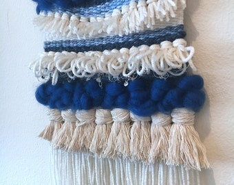 Blue Chunky Wall Weaving - Woven Textile Art - Weaving - Woven Wall Hanging - Gift for home - Tapestry - Yarn Wall Hanging - Nursery Decor
