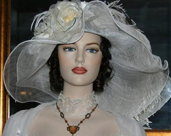 Kentucky Derby Hat Ascot Edwardian Wide Brim Tea Hat Titanic Hat Somewhere in Time Hat Downton Abbey Hat White Hat - Petunia Petals