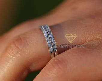 Stacked wedding ring etsy wedding bands women solid 14k white gold set of 2 half eternity wedding bands junglespirit Images