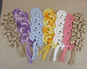 Bookmark crochet bookmark fan, textile bookmarks, jewelry books lace marker pages, bookmark crochet, color choice