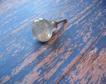 2 Clear Knobs with Silver Filament Wire Inside Clear Round Modern Knobs or Pulls See Through Hardware B-15