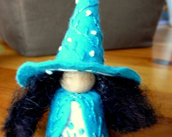 Flowery Wool Felt Witch, Peg Doll Witch, Waldorf Inspired, One of a Kind,Springtime  Minature Witch