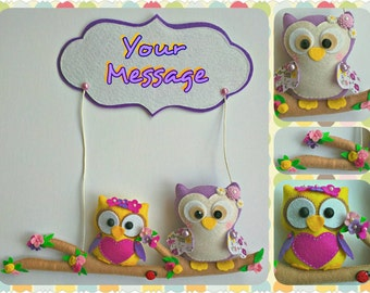 Sitting Owls Hanging Ornament, Custom Name Banner, Owls Hanging Decoration, Owls Wall Decoration, Handmade Home Decor
