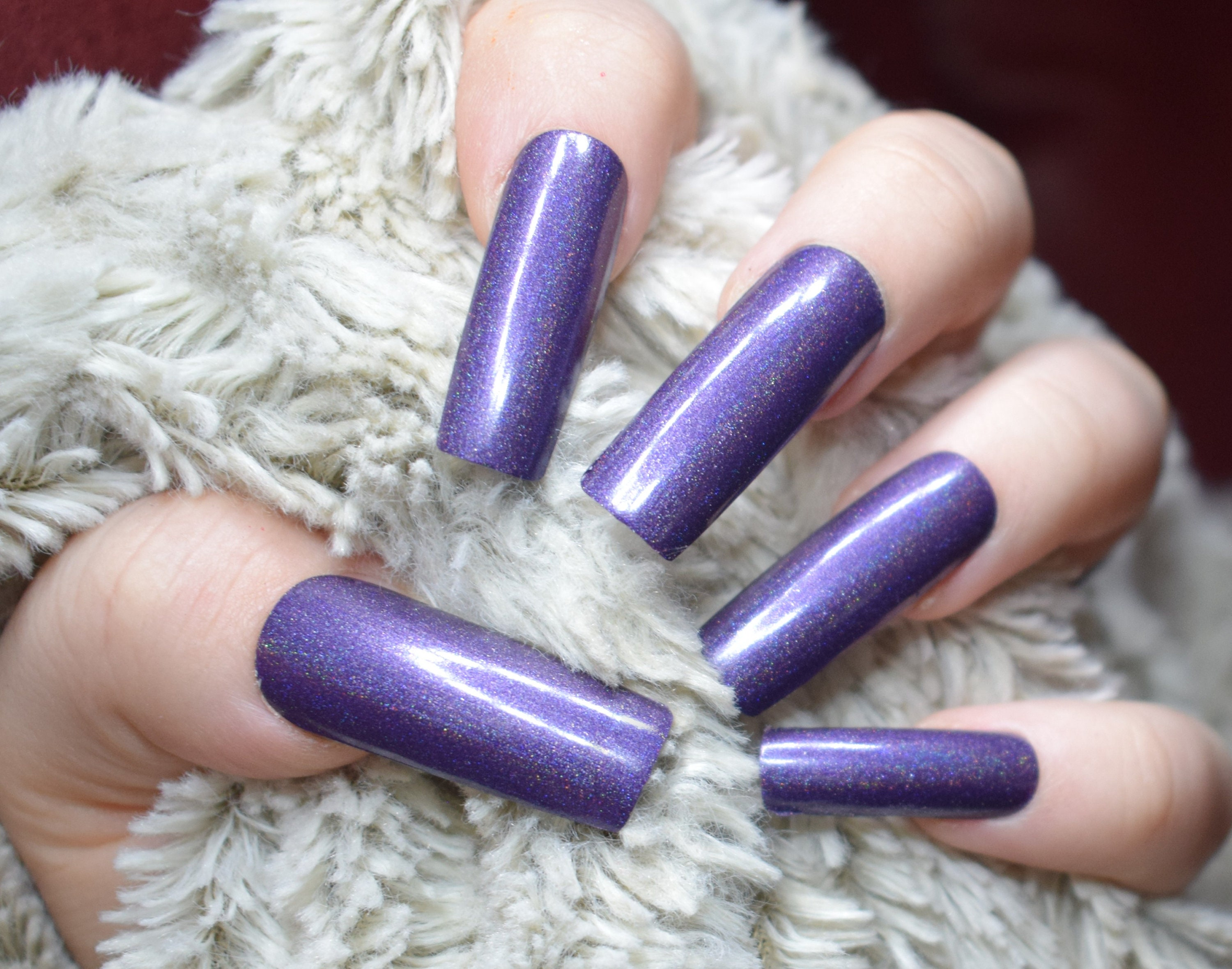 Purple Holographic Fake Nails, Extra Long False Nails, Hand Painted ...