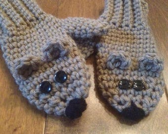 Bear Mittens, Bear Gloves, Brown bear mittens, Brown bear gloves, Toddler bear mittens, Crochet bear mittens, Knit bear mittens, Woodland