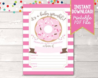 Girls Baby Sprinkle Baby Shower Invitation Instant Download Printable PDF with Pink Stripes & Donut Design
