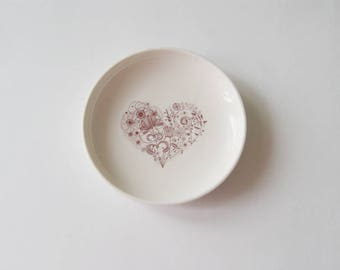 Wedding Ring Bearer Wedding Gift Ring Bearer Pillow Alternative Jewelry Dish Porcelain Dish Heart Dish