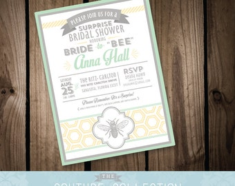 SALE! INVITATION Bride to Bee Bridal Shower  -  Fully Customizable Custom Color Baby Shower Wedding Shower Printable DIY Digital File