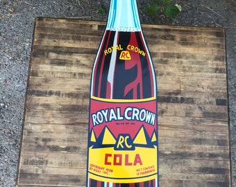 Authentic Excellent Condition Vintage Royal Crown RC Cola Metal Advertising Bottle Sign
