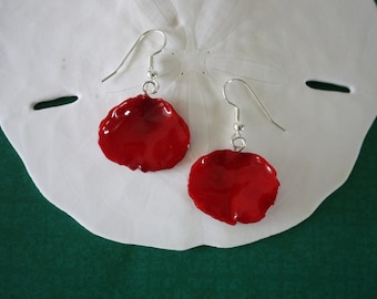 Rose Petal Earrings, Red Rose Petals, Real Rose Petal Jewelry, Deep Red Rose Earrings, Petal81
