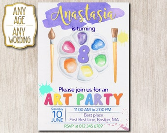 Art Party birthday invitation, Paint party invitation, Craft party invitation, 8th birthday invitation, Painting art party, ANY AGE - 1631