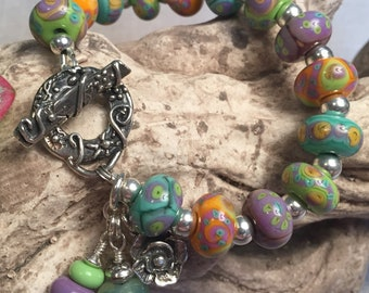 SUMMER DREAMING, artisan lampwork and sterling silver bracelet