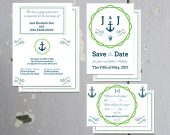 Printable Nautical Blue & Green Invitation