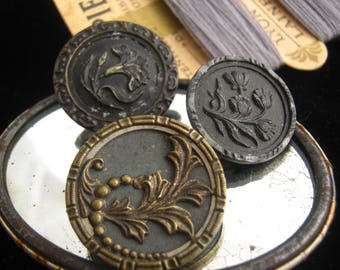 X 3 Antique french metal collectible buttons