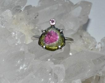 Pink Tourmaline and Watermelon Tourmaline Slice Stone Ring Sterling Silver sz 6.5